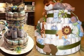 pastel de pañales para un baby shower